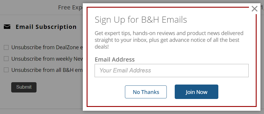 screenshot of email subscription popover on bhphotovideo.com